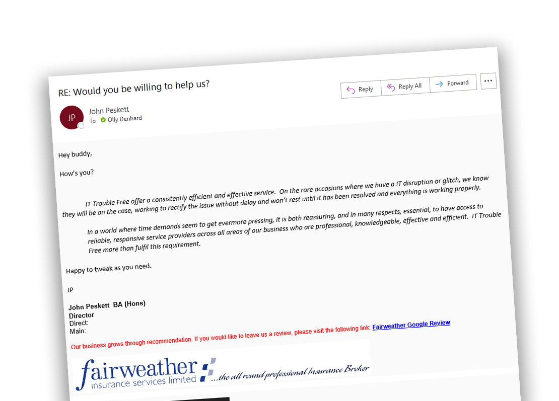 Google Review from Fairweather insurance services